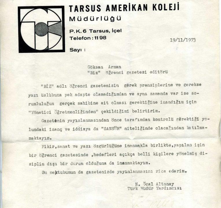 BİZ TAC'de öğrencinin basın özgürlüğüne saygı